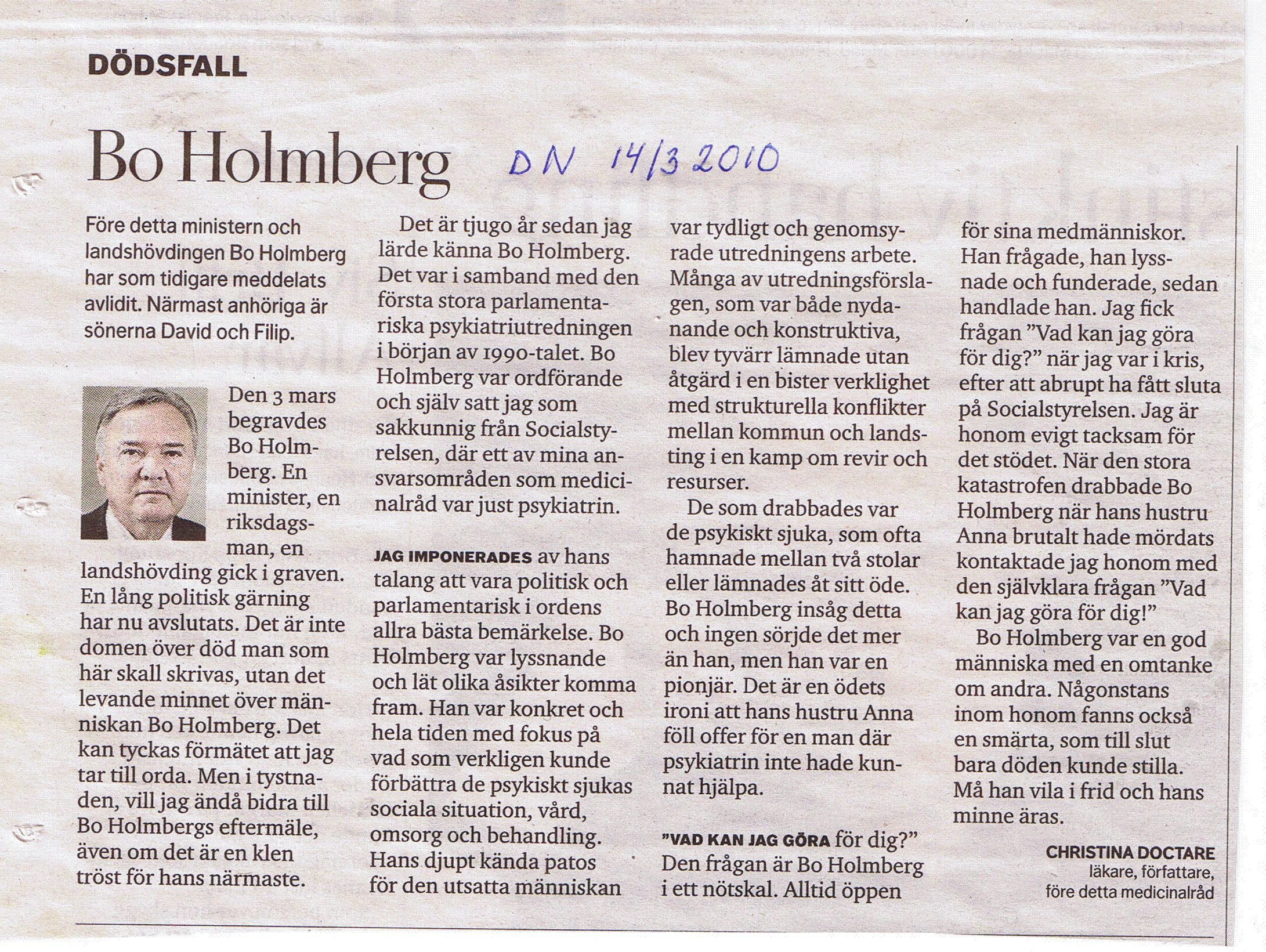 Bo holmberg dod